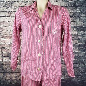 Ralph Lauren 2PC Monogrammed Flannel Pajama Set Sm